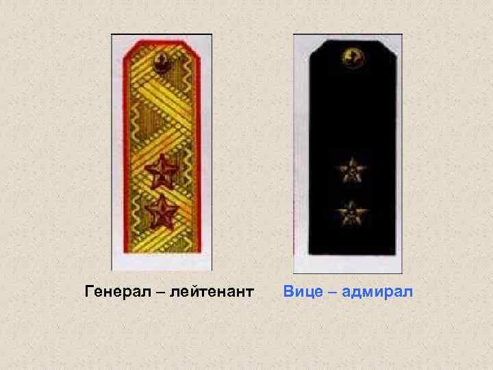 Генерал – лейтенант Вице – адмирал