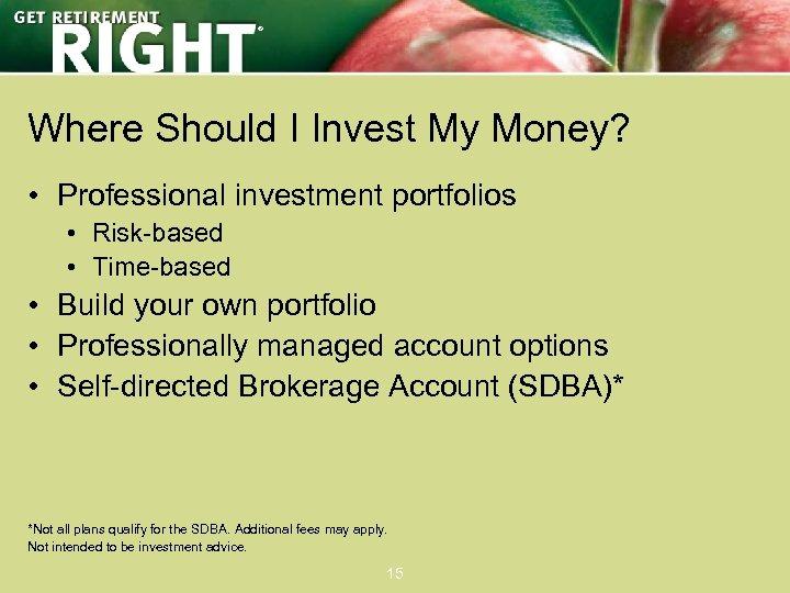 ® Where Should I Invest My Money? • Professional investment portfolios • Risk-based •