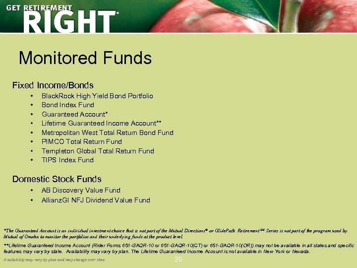 ® Monitored Funds Fixed Income/Bonds • • Black. Rock High Yield Bond Portfolio Bond