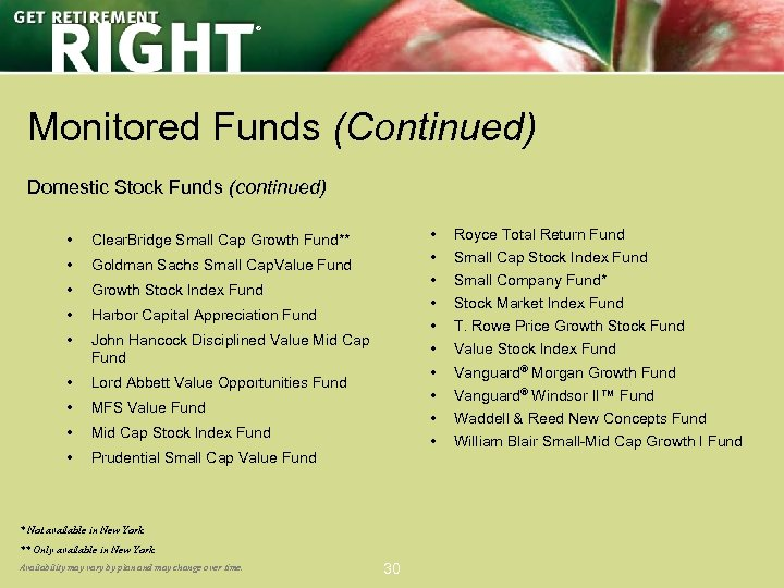 ® Monitored Funds (Continued) Domestic Stock Funds (continued) • • Goldman Sachs Small Cap.