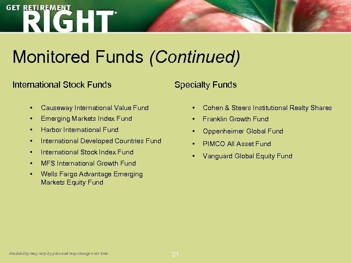 ® Monitored Funds (Continued) International Stock Funds Specialty Funds • Causeway International Value Fund