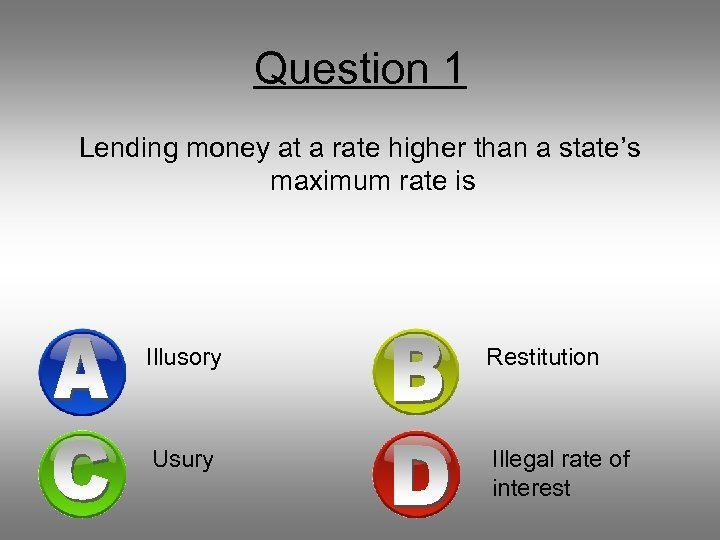 Question 1 Lending money at a rate higher than a state's maximum rate is