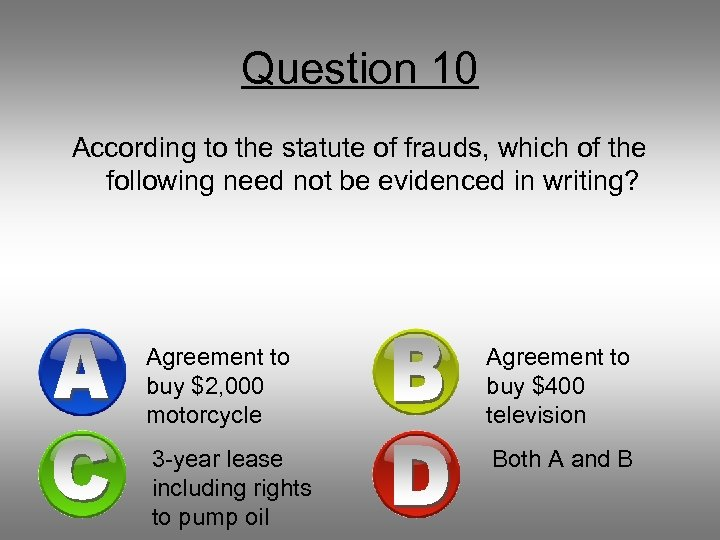 Question 10 According to the statute of frauds, which of the following need not
