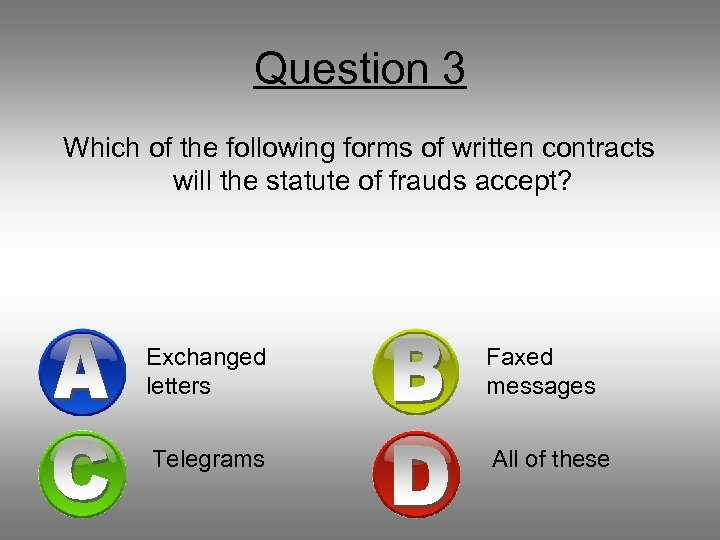 Question 3 Which of the following forms of written contracts will the statute of