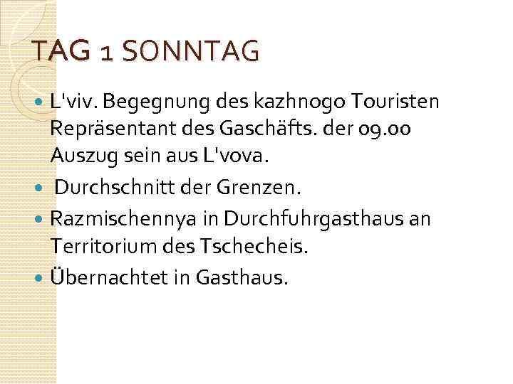 TAG 1 SONNTAG L'viv. Begegnung des kazhnogo Touristen Repräsentant des Gaschäfts. der 09. 00