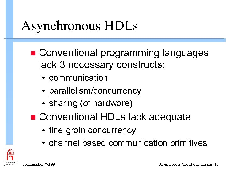 Asynchronous HDLs n Conventional programming languages lack 3 necessary constructs: • communication • parallelism/concurrency