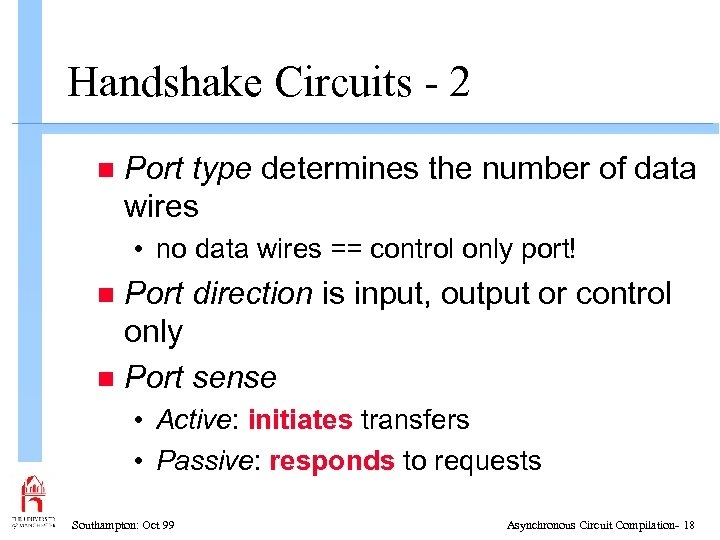 Handshake Circuits - 2 n Port type determines the number of data wires •