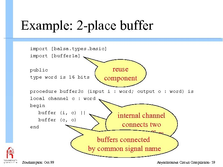 Example: 2 -place buffer import [balsa. types. basic] import [buffer 1 a] public type