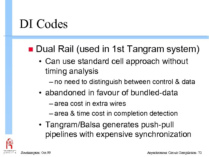 DI Codes n Dual Rail (used in 1 st Tangram system) • Can use