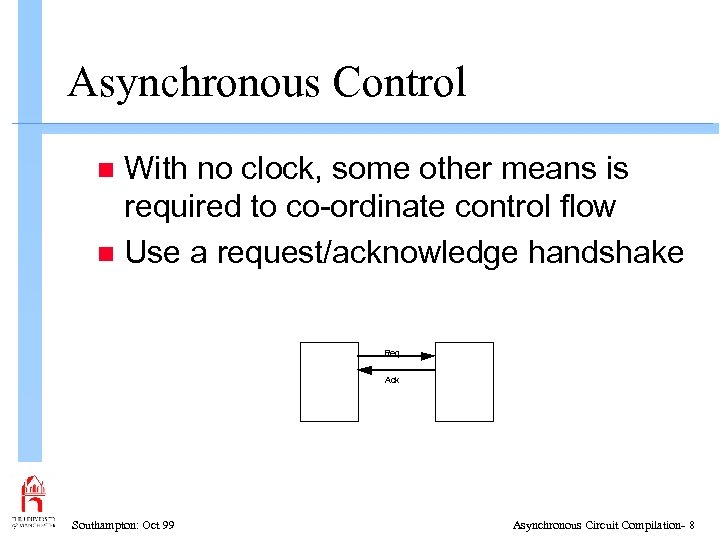 Asynchronous Control With no clock, some other means is required to co-ordinate control flow