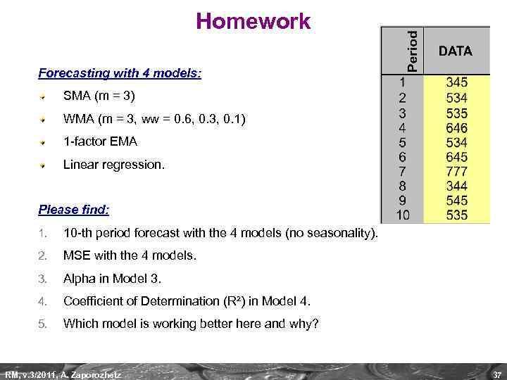 Homework Forecasting with 4 models: SMA (m = 3) WMA (m = 3, ww
