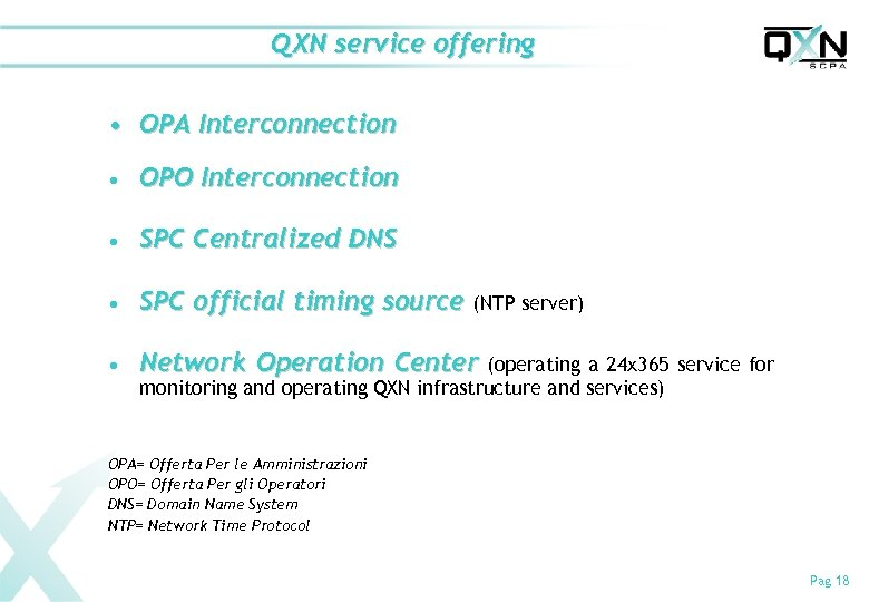 QXN service offering • OPA Interconnection n OPO Interconnection n SPC Centralized DNS n