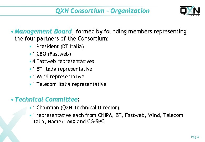 QXN Consortium – Organization • Management Board, formed by founding members representing Board the