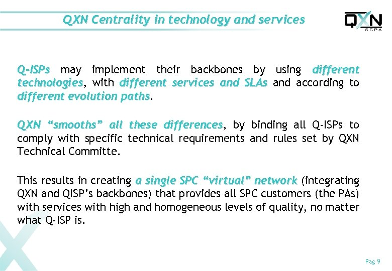 QXN Centrality in technology and services Q-ISPs may implement their backbones by using different