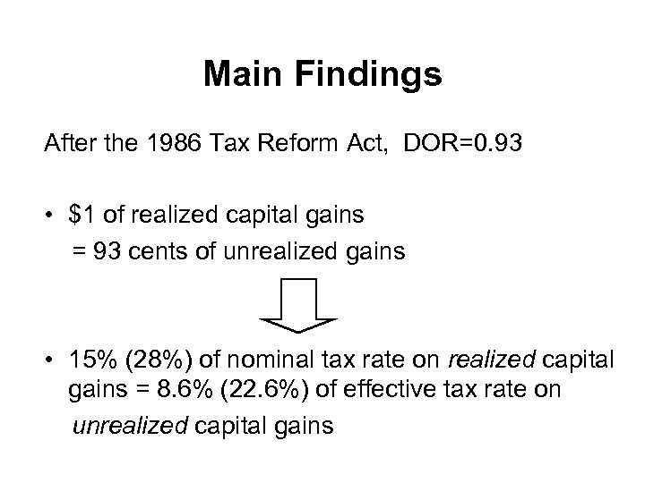 Main Findings After the 1986 Tax Reform Act, DOR=0. 93 • $1 of realized