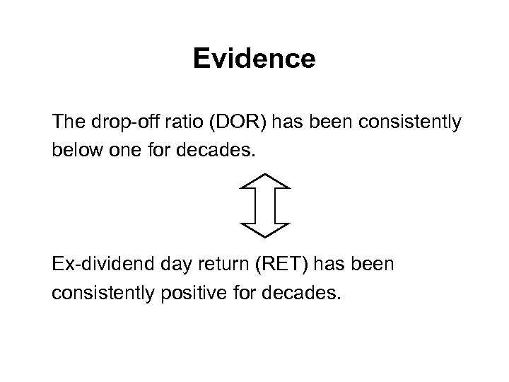Evidence The drop-off ratio (DOR) has been consistently below one for decades. Ex-dividend day