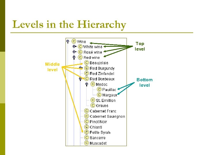 Levels in the Hierarchy Top level Middle level Bottom level