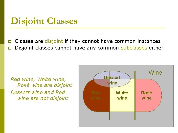 Disjoint Classes p p Classes are disjoint if they cannot have common instances Disjoint