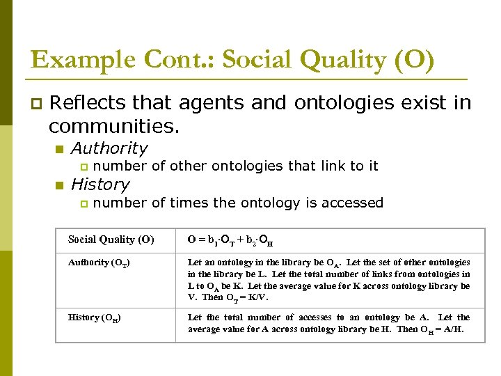 Example Cont. : Social Quality (O) p Reflects that agents and ontologies exist in
