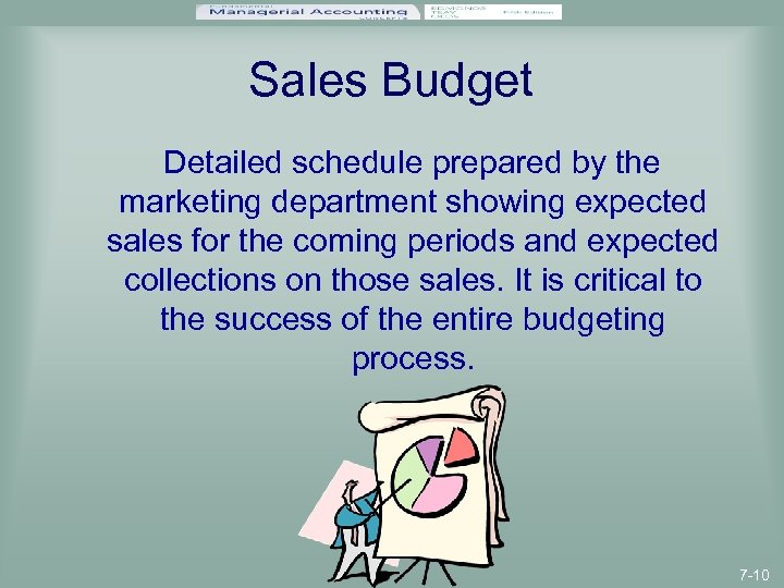 Sales Budget Detailed schedule prepared by the marketing department showing expected sales for the
