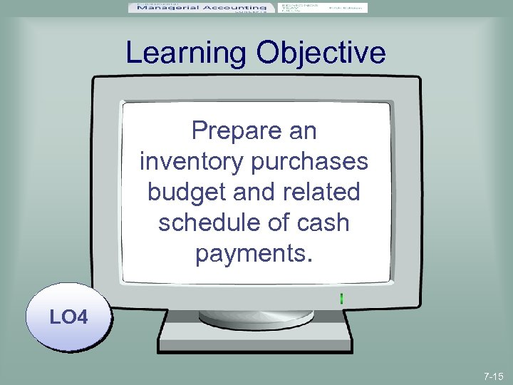 Learning Objective Prepare an inventory purchases budget and related schedule of cash payments. LO