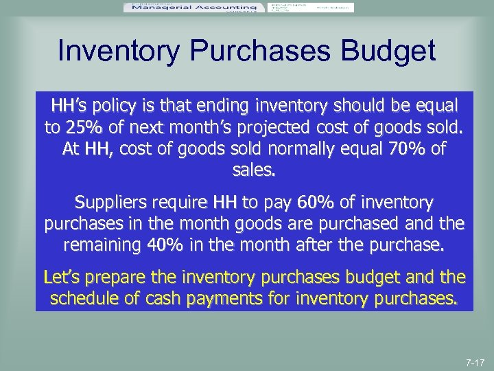 Inventory Purchases Budget HH's policy is that ending inventory should be equal to 25%
