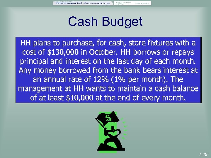 Cash Budget HH plans to purchase, for cash, store fixtures with a cost of