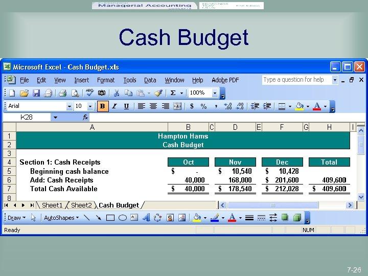 Cash Budget 7 -26