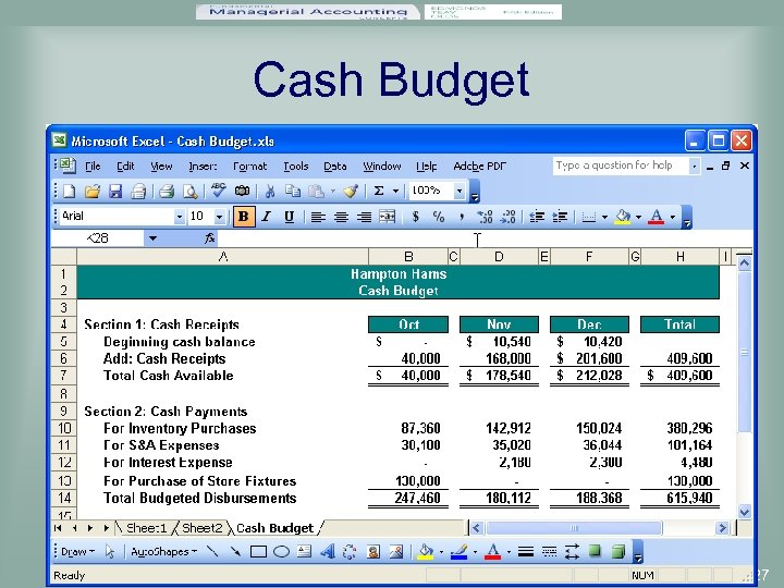 Cash Budget 7 -27