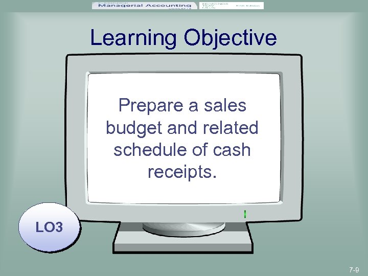 Learning Objective Prepare a sales budget and related schedule of cash receipts. LO 3