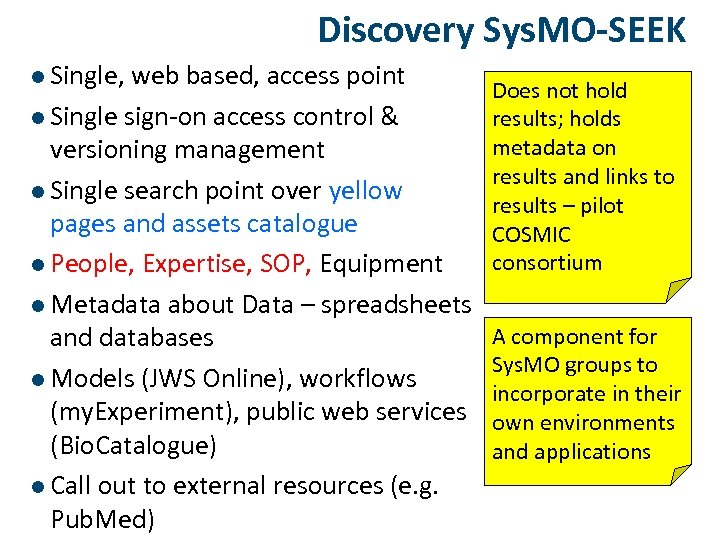 Discovery Sys. MO-SEEK l Single, web based, access point l Single sign-on access control