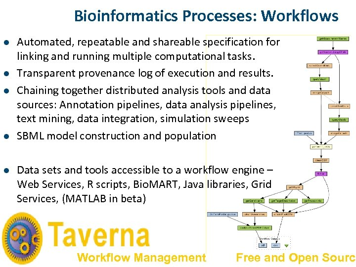 Bioinformatics Processes: Workflows l l l Automated, repeatable and shareable specification for linking and