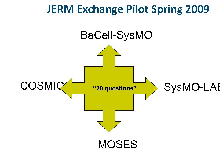 """JERM Exchange Pilot Spring 2009 Ba. Cell-Sys. MO COSMIC """" 20 questions"""" MOSES Sys."""