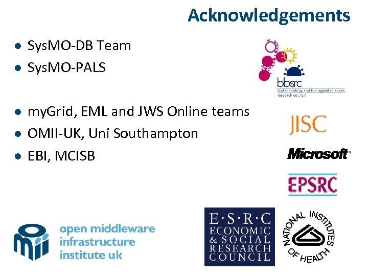 Acknowledgements l l l Sys. MO-DB Team Sys. MO-PALS my. Grid, EML and JWS