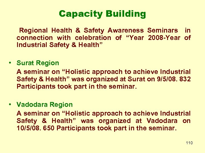 "Capacity Building Regional Health & Safety Awareness Seminars in connection with celebration of ""Year"