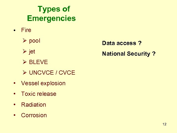 Types of Emergencies • Fire Ø pool Data access ? Ø jet National Security