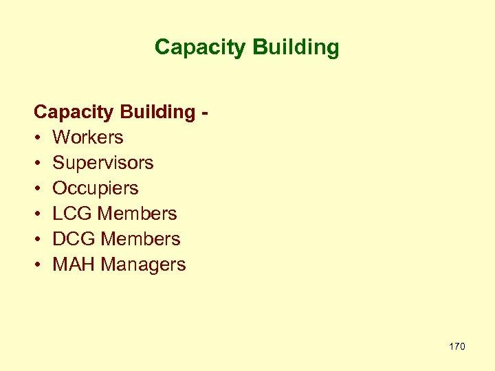 Capacity Building • Workers • Supervisors • Occupiers • LCG Members • DCG Members