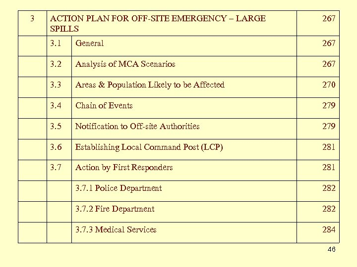 3 ACTION PLAN FOR OFF-SITE EMERGENCY – LARGE SPILLS 267 3. 1 General 267