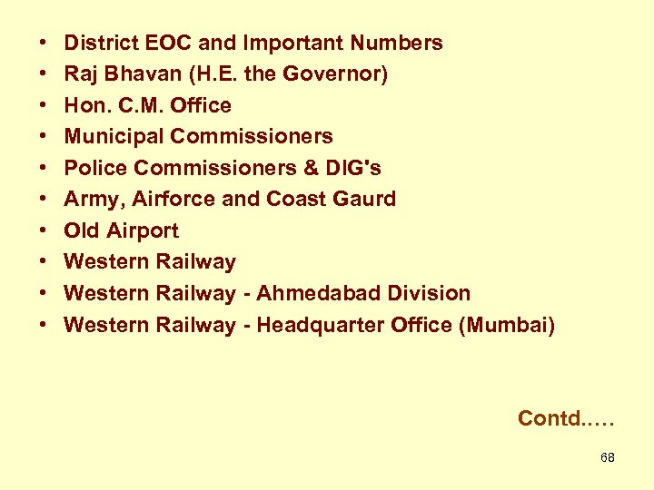• • • District EOC and Important Numbers Raj Bhavan (H. E. the
