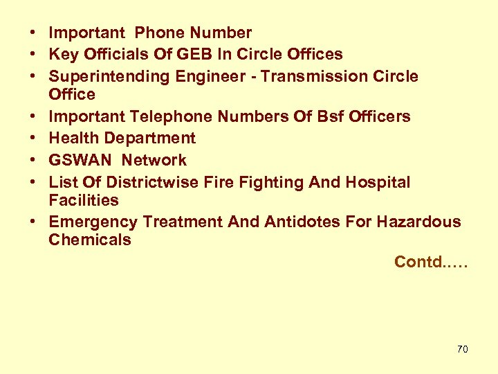 • Important Phone Number • Key Officials Of GEB In Circle Offices •