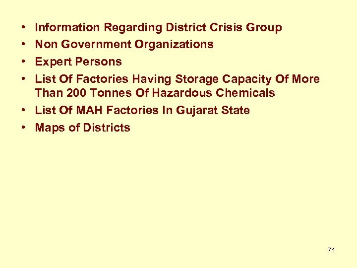 • • Information Regarding District Crisis Group Non Government Organizations Expert Persons List