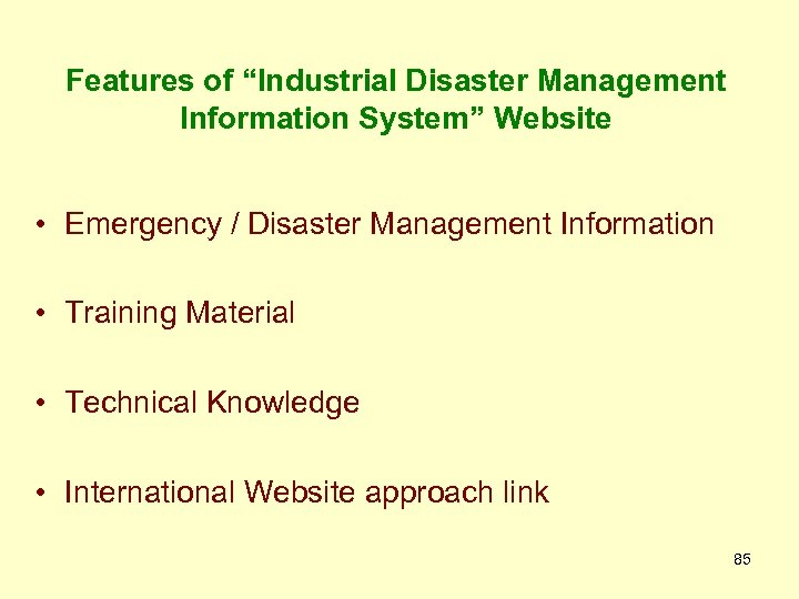 "Features of ""Industrial Disaster Management Information System"" Website • Emergency / Disaster Management Information"