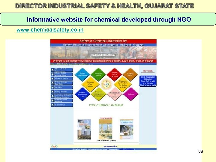 Informative website for chemical developed through NGO www. chemicalsafety. co. in 88
