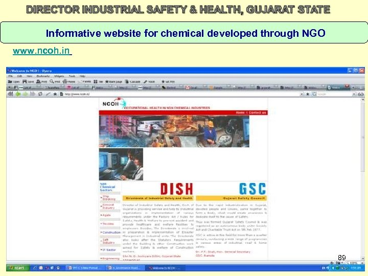 Informative website for chemical developed through NGO www. ncoh. in 89