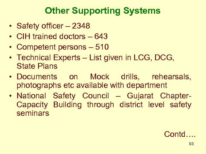 Other Supporting Systems • • Safety officer – 2348 CIH trained doctors – 643