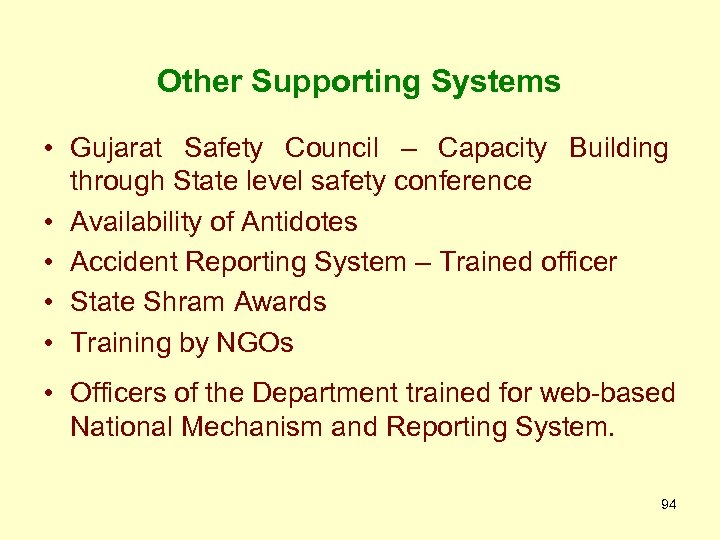 Other Supporting Systems • Gujarat Safety Council – Capacity Building through State level safety