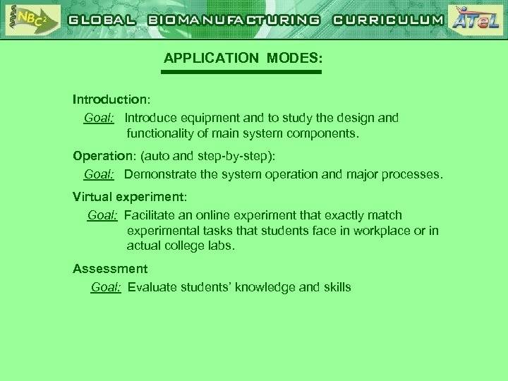 APPLICATION MODES: Introduction: Goal: Introduce equipment and to study the design and functionality of