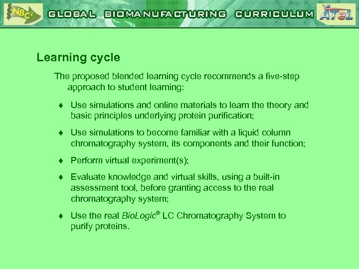 Learning cycle The proposed blended learning cycle recommends a five-step approach to student learning: