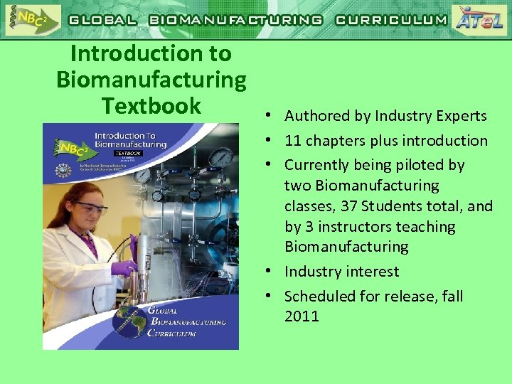 Introduction to Biomanufacturing Textbook • Authored by Industry Experts • 11 chapters plus introduction