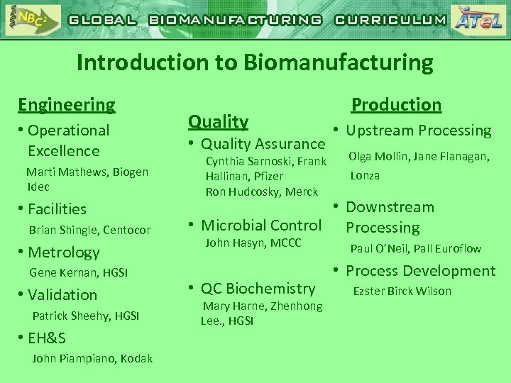 Introduction to Biomanufacturing Engineering • Operational Excellence Marti Mathews, Biogen Idec • Facilities Brian